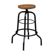Yosemite 29 x 11 Accent Dustrial Adjustable Stool With Black Metal Frame, Antique Black