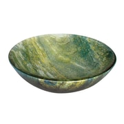 "Yosemite Glass Sinks 5 1/2"" x 16 1/2"" x 16 1/2"" Round Polished Glass Vessel Sink, Ocean Green"