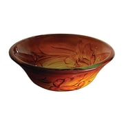 "Yosemite Glass Sinks 5 1/2"" x 16 1/2"" x 16 1/2"" Round Polished Glass Vessel Sink, Sunrise"