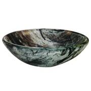 """Yosemite Glass Sinks 5 1/2"""" x 16 1/2"""" x 16 1/2"""" Round Polished Glass Vessel Sink, Double Dutch"""