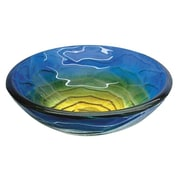"Yosemite Glass Sinks 5 1/2"" x 16 1/2"" x 16 1/2"" Round Polished Glass Vessel Sink, Retro Blues"