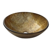 "Yosemite Glass Sinks 5 1/2"" x 16 1/2"" x 16 1/2"" Round Polished Glass Vessel Sink, Gold/Bronze"