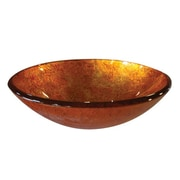 "Yosemite Glass Sinks 5 1/2"" x 16 1/2"" x 16 1/2"" Round Polished Glass Vessel Sink, Fiery Orange"