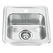 "Yosemite Stainless Sinks 6"" x 15"" x 15"" Topmount Rectangular Steel Vessel Sink, Satin"