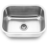 "Yosemite Stainless Sinks 9"" x 23"" x 18"" Rectangular Single Bowl Steel Kitchen Sink, Satin"