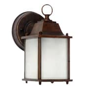 """Yosemite 8"""" x 4 1/2"""" x 6"""" 1-Light Wall Sconce With Frosted Glass Shade, Brown"""