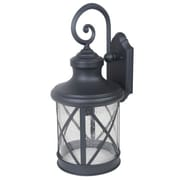 "Yosemite 20"" x 9 1/4"" x 10"" 1-Light Exterior Lantern With Clear Seeded Glass Shade, Black"