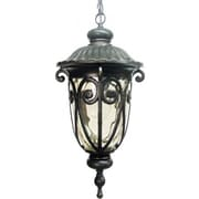 "Yosemite 20 1/2"" x 9"" x 9"" 1-Light Hanging Light W/Gold Stone Glass Shade, Oil Rubbed Bronze"