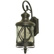 "Yosemite 19 1/2"" x 7 1/2"" 4-Light Wall Sconce W/Clear Seeded Glass Shade, Oil Rubbed Bronze"
