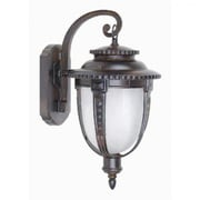 """Yosemite 15"""" x 7.5"""" x 9.5"""" 1-Light Wall Sconce With Frosted Glass Shade, Brown"""