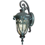 """Yosemite 27 1/2"""" x 11 1/4"""" 1-Light Wall Sconce W/Gold Stone Glass Shade, Oil Rubbed Bronze"""