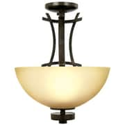 "Yosemite Sentinel 17 1/2"" x 14"" Ceiling Light W/Amber-Scavo Glass, Venetian Bronze"