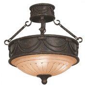 "Yosemite Isabella 19 3/4"" x 18 1/2"" Ceiling Light W/Spanish Scalloped Glass, Bronze"