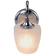 Yosemite 1-Light Vanity Light With Crackle Frosted Shade, Chrome