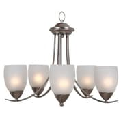 """Yosemite Mirror Lake 18"""" x 22.25"""" Chandelier Ceiling Light White Etched Glass Shade, Nickel"""