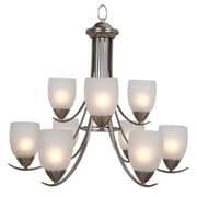"""Yosemite Mirror Lake 24.88"""" x 27"""" Chandelier Ceiling Light White Etched Glass Shade, Nickel"""