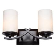 Yosemite 2-Light Vanity Light With Etched White Opal Shade, Oil Rubbed Bronze