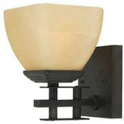 Yosemite 1-Light Vanity Light With Parchment Frosted Shade, Venetian Bronze
