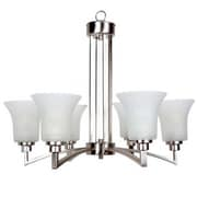 "Yosemite Aldridge 26""Lx26"" Ceiling Light W/Satin Etched White Trumpet Glass Shade, Nickel"