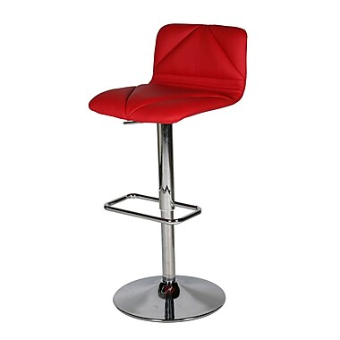 Whiteline Imports Vivo Adjustable Height Bar Stool with Cushion; Red