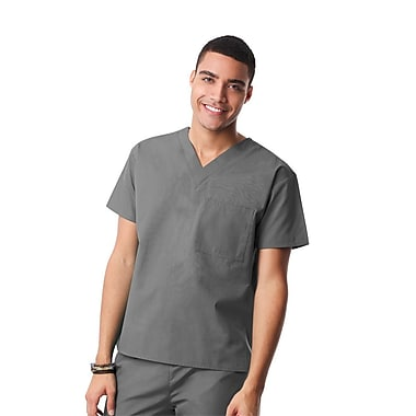 Core 1006X Unisex V-Neck Top, Pewter, Plus 3XL