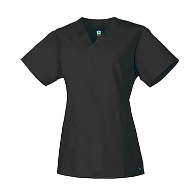 Core 1016 2-Pocket V-Neck Top, Black, Regular XS