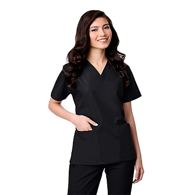 Core 1016X 2-Pocket V-Neck Top, Black, Plus 5XL