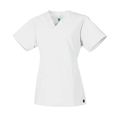 Core 1016 2-Pocket V-Neck Top, White, Regular 2XL
