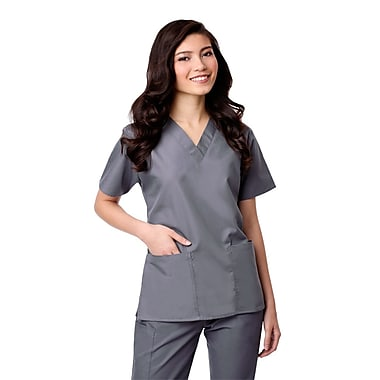 Core 1016X 2-Pocket V-Neck Top, Pewter, Plus 4XL