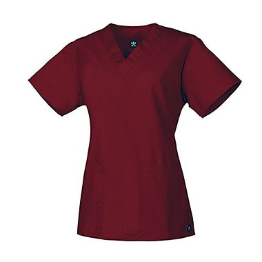Core 1016 2-Pocket V-Neck Top, Wine, Regular XXS