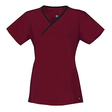 Maevn Core 1026 Y-Neck Mock Wrap Tops, Wine