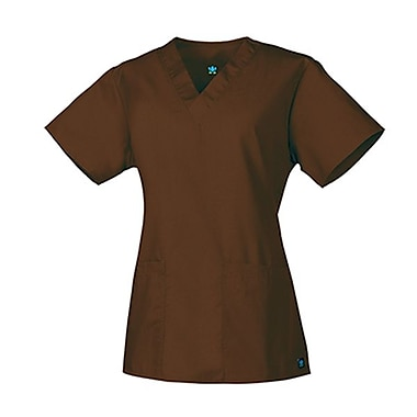Core 1016 2-Pocket V-Neck Top, Chocolate, Regular XXS