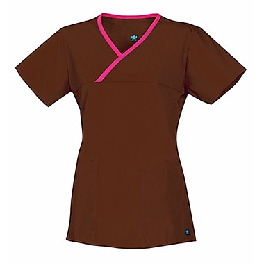 Core 1026 Y-Neck Mock Wrap Top Top, Chocolate, Regular XL