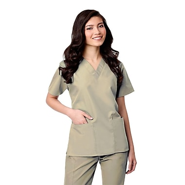 Core 1016X 2-Pocket V-Neck Top, Khaki, Plus 3XL