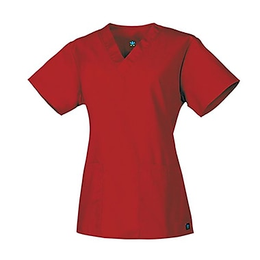 Core 1016 2-Pocket V-Neck Top, Red, Regular XXS