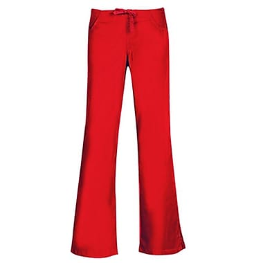 Core 9026 Drawstring & Back Elastic Flare Pant, Red, Regular XXS