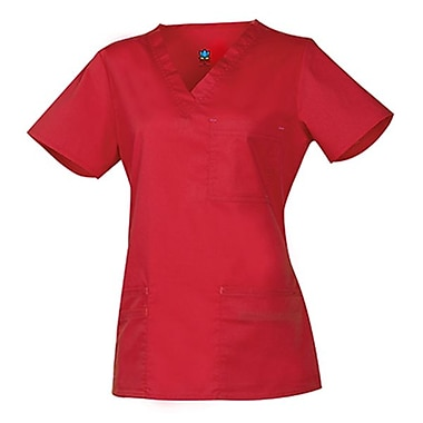 Maevn Blossom 1202 3-Pocket Fashion V-Neck Tops, Crimson