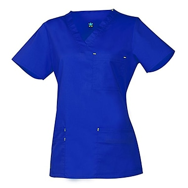 Blossom 1202 3-Pocket Fashion V-Neck Top, Royal, Regular M