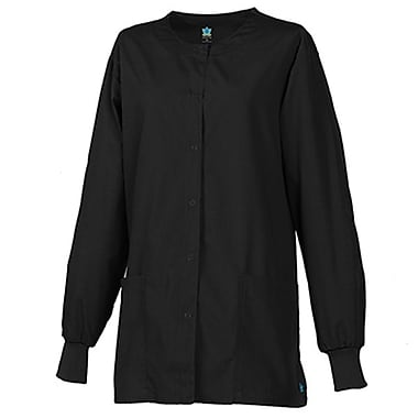 Core 8606 Unisex Round Neck Snap Front Jacket, Black, Regular M
