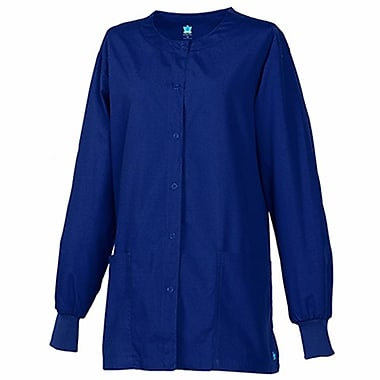 Core 8606X Unisex Round Neck Snap Front Jacket, Navy, Plus 5XL