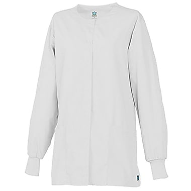 Core 8606 Unisex Round Neck Snap Front Jacket, White, Regular L