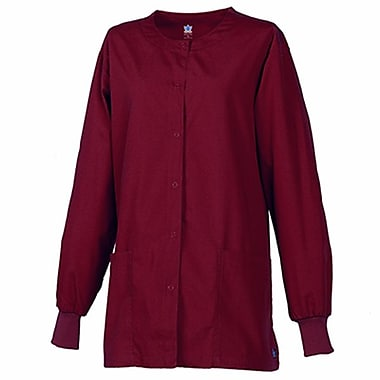 Core 8606X Unisex Round Neck Snap Front Jacket, Wine, Plus 4XL