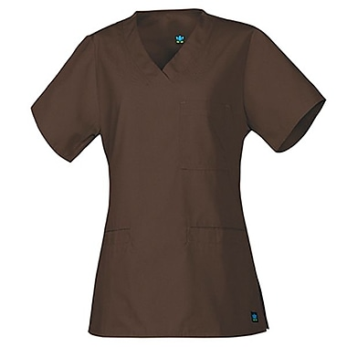Core 1626 3-Pocket V-Neck Top, Chocolate, Regular L