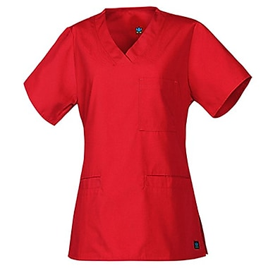 Core 1626 3-Pocket V-Neck Top, Red, Regular XXS