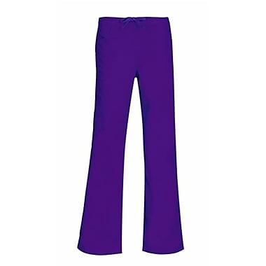 Core 9626P Straight Cargo & Black Elastic Drawstring Pant, Purple, Petite S