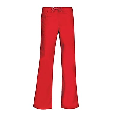 Core 9626P Straight Cargo & Black Elastic Drawstring Pant, Red, Petite M
