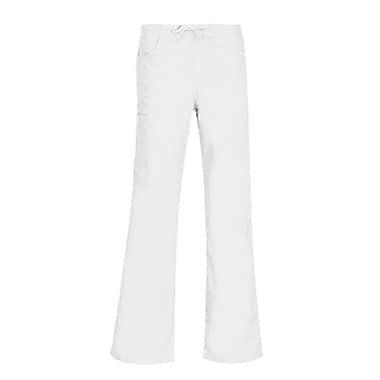 Core 9626 Straight Cargo & Black Elastic Drawstring Pant, White, Regular L