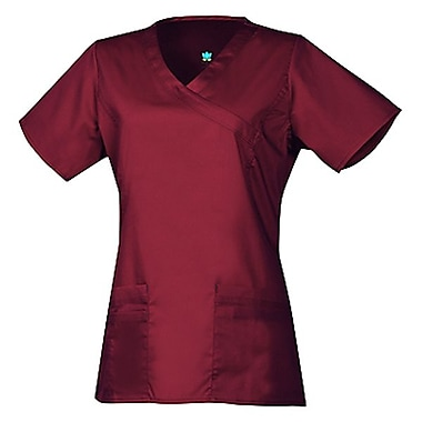 Blossom 1102 Y-Neck Top with Princess Seaming, Wine, Regular XS