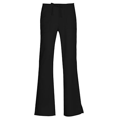 Gravity 9203 Sporty Back Elastic Front Drawstring Flare Pant, Black, Regular XS