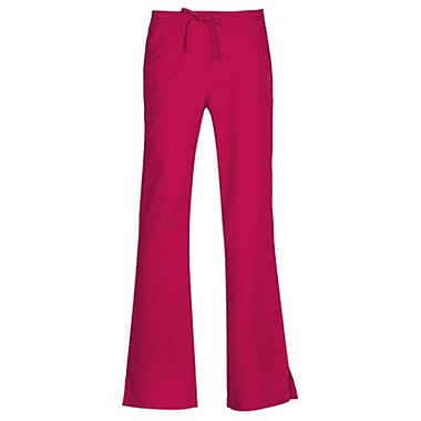 Gravity 9203 Sporty Back Elastic Front Drawstring Flare Pant, Plum, Regular XS